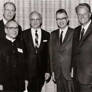 This photo of two Brethren in Christ leaders -- C. N. Hostetter, Jr. (second from left) and Arthur M. Climenhaga (second from right) -- standing with Evangelical luminary Billy Graham has been important in my ongoing research. (Brethren in Christ Library and Archives)