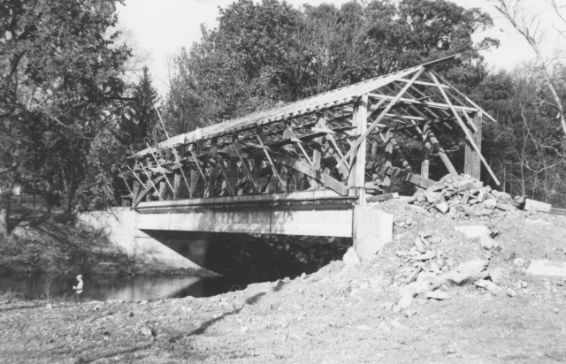 The Messiah College Covered Bridge during its reconstruction in the early 1970s. (Photo: Brethren in Christ Historical Library and Archives)