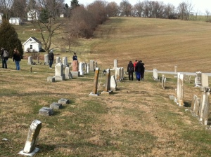 Students explore the old cemetery outside Ringgold Meeting House after our tour