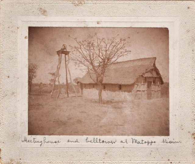 One of the earliest images captured by Brethren in Christ missionaries to then-Southern Rhodesia, this picture shows the first Brethren in Christ meeting house built at Matopo Mission in present-day Zimbabwe. (Brethren in Christ Historical Library and Archives)