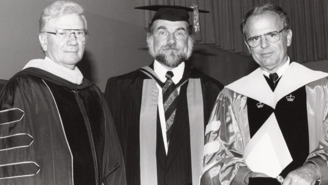 Three Messiah College leaders (L to R) -- Trustee Ernest L. Boyer, President Rodney J. Sawatsky, and President D. Ray Hostetter -- at Sawatsky's inauguration in 1994. (Brethren in Christ Historical Library and Archives)