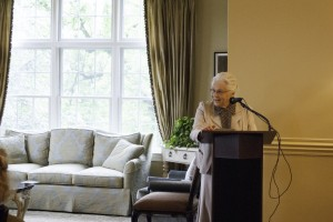 Kay Boyer speaks at the May 29 reception celebrating the release of her book, Many Mansions (Messiah College)