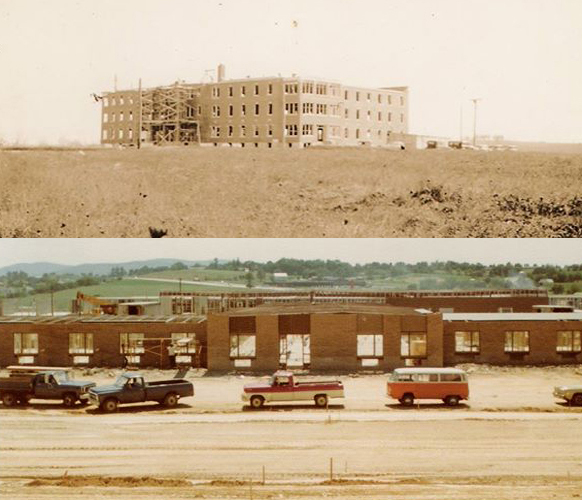 Two photos of Messiah Village under construction. At top, Messiah Home being built along Paxton Street in Harrisburg, Pa., in 1935; at bottom, Messiah Village being built in Mechanicsburg, Pa., in 1978. (Brethren in Christ Historical Library and Archives)