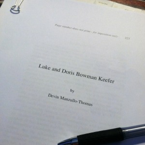 Working through the page proofs of my forthcoming biography of Luke and Doris Keefer