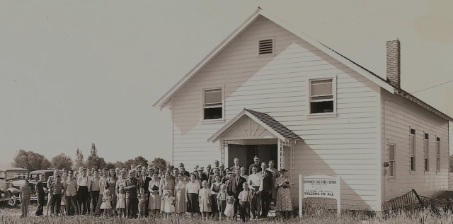 The Redwood Country Church -- the first Brethren in Christ congregation established in the Pacific Northwest -- circa 1948. Courtesy of Mark Chamberlain.