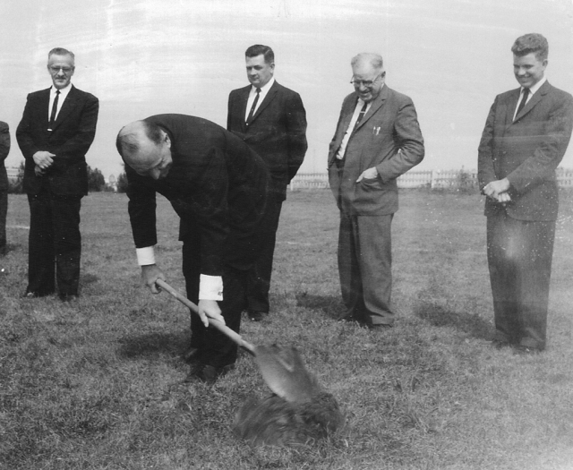 "In the early 1960s, the Brethren in Christ planted the Skyline View congregation in suburban Harrisburg, Pa., using methods gleaned from the Evangelical Church Growth movement. This photo, from the groundbreaking, depicts a formerly ""plain people"" in the midst of a cultural transformation. (Brethren in Christ Historical Library and Archives)"