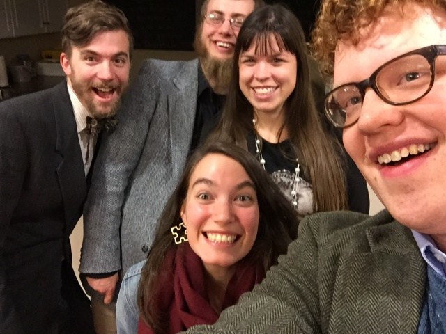 If you're hanging out with young historians, you have to take a selfie. Participants from left to right: Ted Maust, Joel Nofziger (from Lancaster Mennonite Historical Society), Moira Mackay, Brooke Strayer, and me